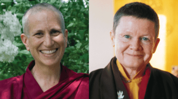 Thubten Chodron (left), photo by Sravasti Abbey. Pema Chödrön (left), photo by Liza Matthews.