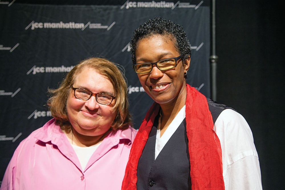 Sharon Salzberg (right) and Rev. angel Kyodo williams (left). This exploration of the relationship between spiritual practice and political activism took place at the Jewish Community Center in Manhattan. The event was cosponsored by the Garrison Institute. Photo by Christine Alicino.