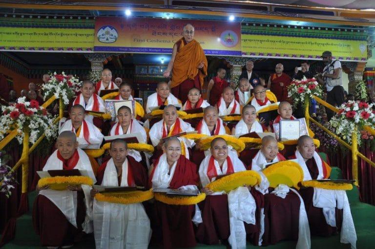 His Holiness the Dalai Lama with the twenty Tibetan Buddhist nuns who received the Geshema degree.