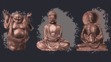 Hotei, the Buddha, and an ascetic.