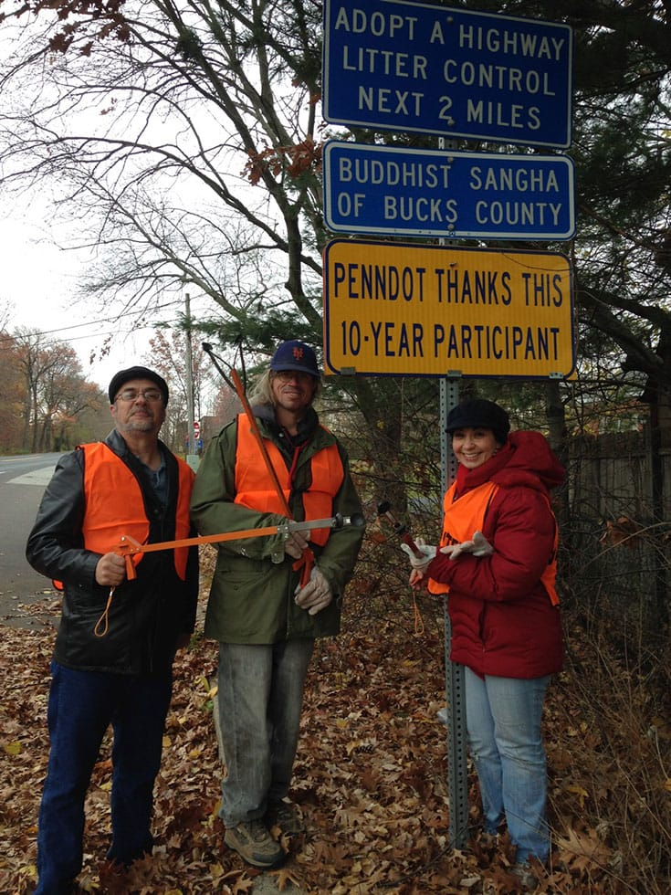 Blanchet (right) with members of the Buddhist Sangha of Bucks County at their annual roadside cleanup. Photo courtesy of the author.