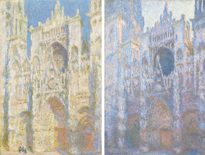 """""""Rouen Cathedral, West Façade, Sunlight"""" (left) and """"Rouen Cathedral, West Façade"""" (right) by Claude Monet, 1894. Courtesy National Gallery of Art, Washington, D.C."""