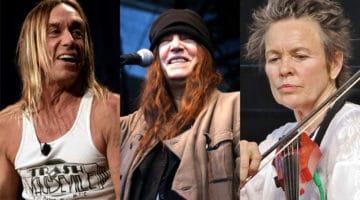 Iggy Pop (left) by Kris Krüg.  Patti Smith (center) by Rebekka. Laurie Anderson (center) by Bill Gordon.