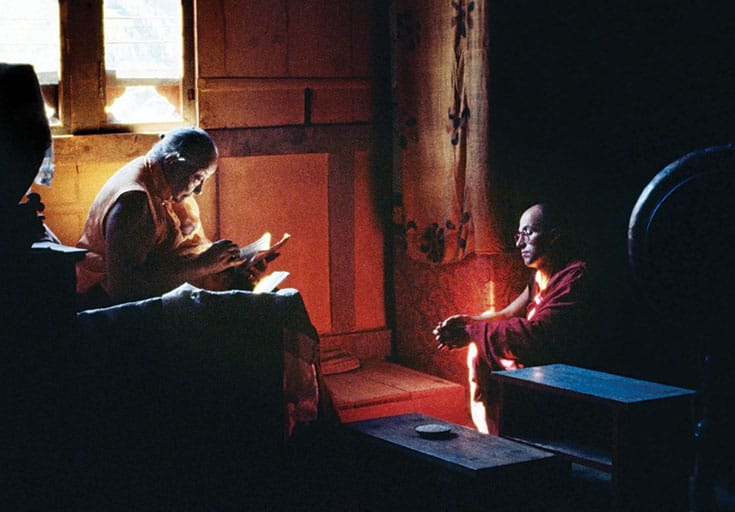 "Ricard with his second teacher, Dilgo Khyentse Rinpoche, in Bhutan, 1981. The true altruist, Khyentse Rinpoche taught, ""responds to the needs of others out of his natural compassion. Cause and effect are unfailing, so his actions to benefit others are sure to bear fruit—but he never counts on it."" Photo by Marilyn Silverstone."