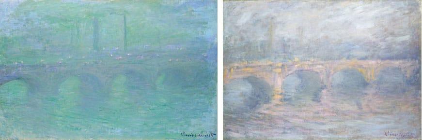 """Waterloo Bridge, London, at Dusk"" (left) and ""Waterloo Bridge, London, at Sunset"" (right), by Claude Money, 1904. Courtesy National Gallery of Art, Washington, D.C."