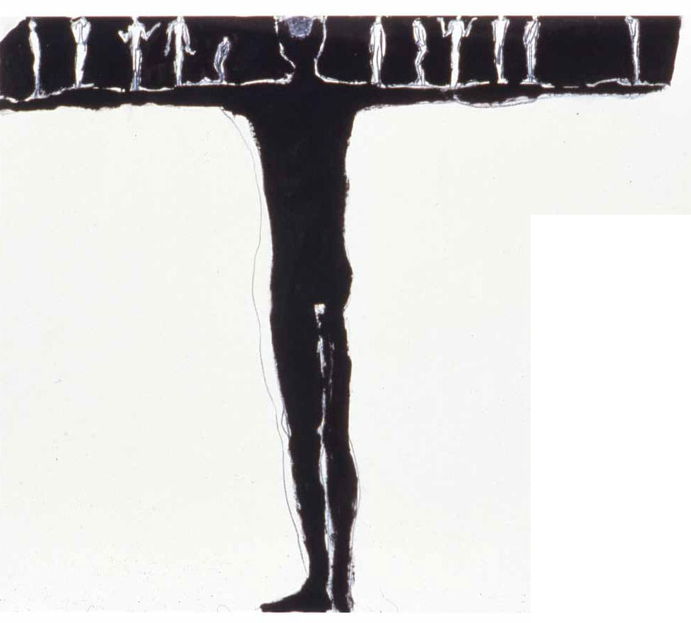 """Untitled"" by Antony Gromely, 1983. Black pigment, linseed oil and charcoal on paper. 64.3cm x 90.2cm"