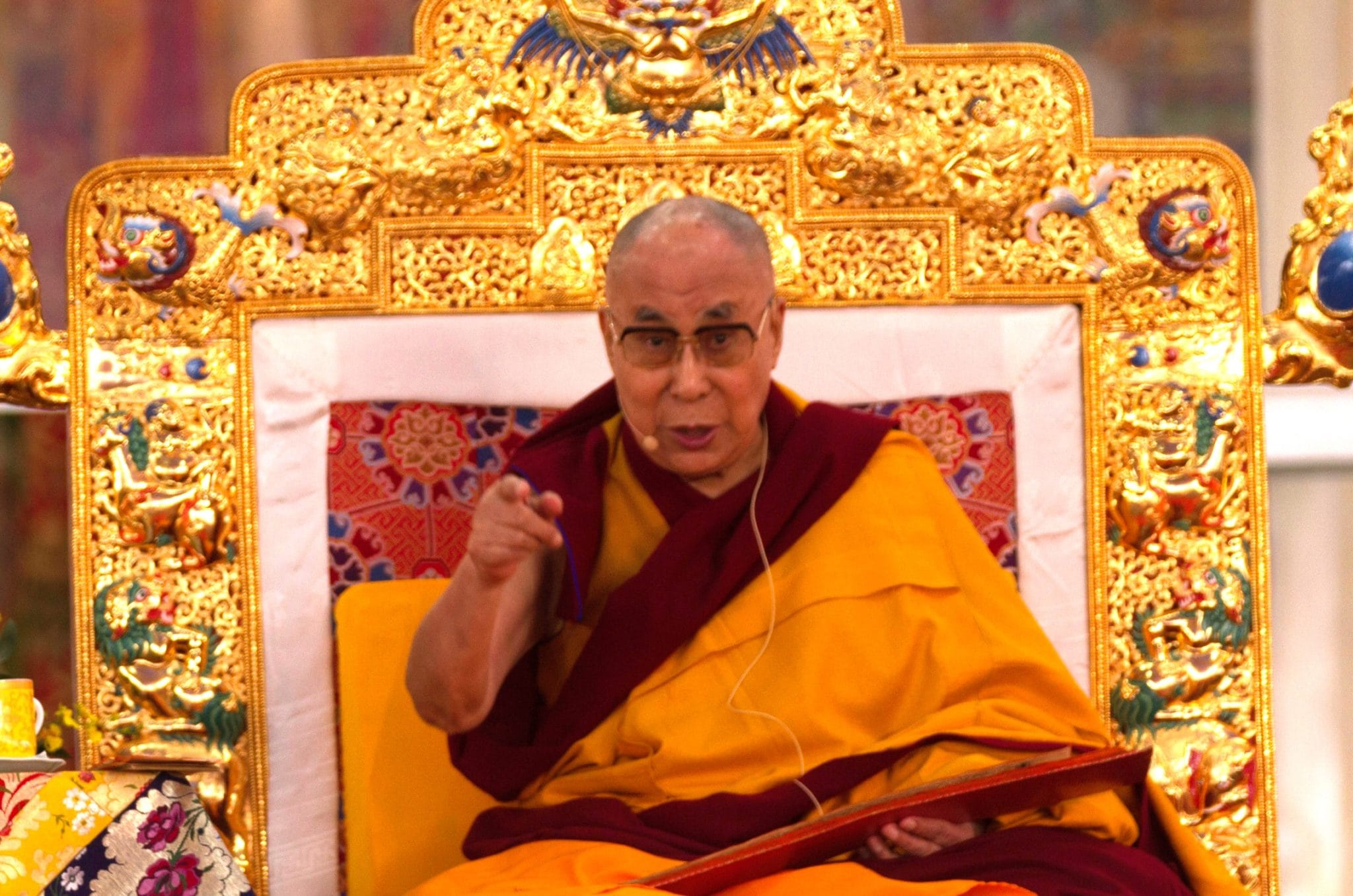His Holiness the Dalai Lama at the Kalachakra Empowerment, Bodhgaya, India, 2017. Photo by Gordon Eaton.