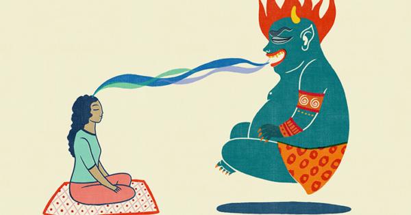 Illustration of a meditator feeding a mara demon.