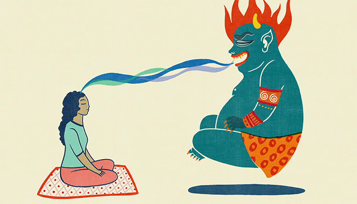Illustration of a meditator feeding a mara demon.