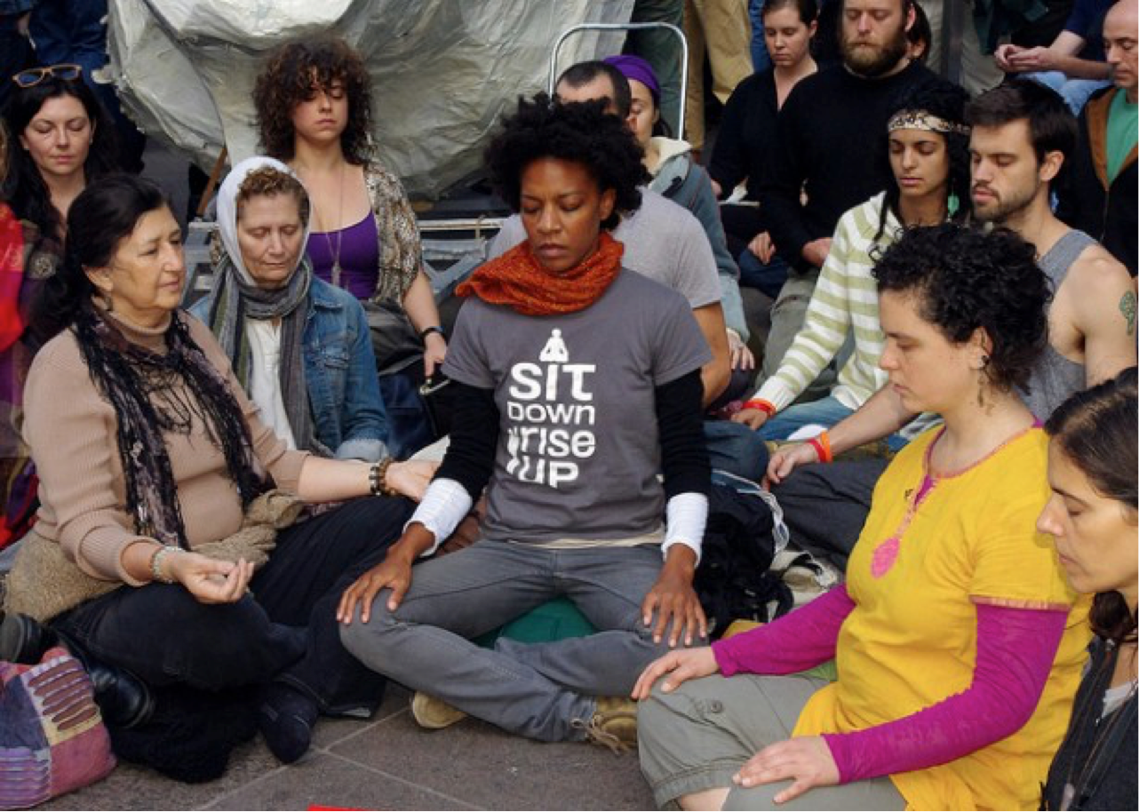 Friends meditating at Zuccotti Park in 2011. Photographer unknown.