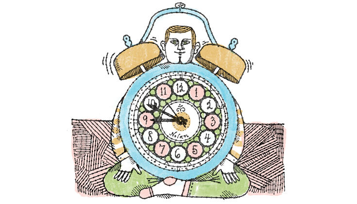 Nolan Pelletier illustration of man meditating with clock.