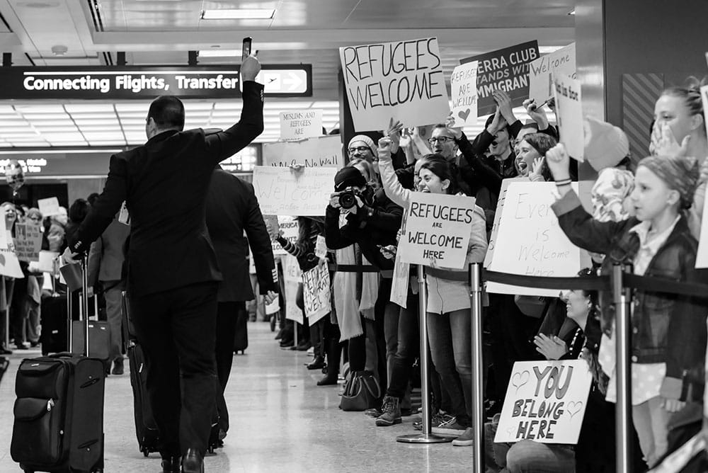 "Photo by Geoff Livingston of Dulles International Airport (VA) ""Muslim Ban"" Protest."