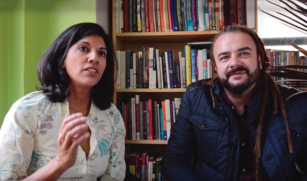 Taz Tagore and Adam Bucko founded the Reciprocity Foundation in New York City to show homeless and foster youth that a better life begins with self-awareness. Through their programs, many at-risk youth have gone on to earn college degrees. Photo from video by Alex Fradkin.
