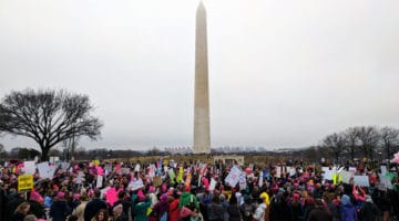 Protesters gather at the The Washington Monument for the Women's March on Washington. Photo by  Peter Kaminski.