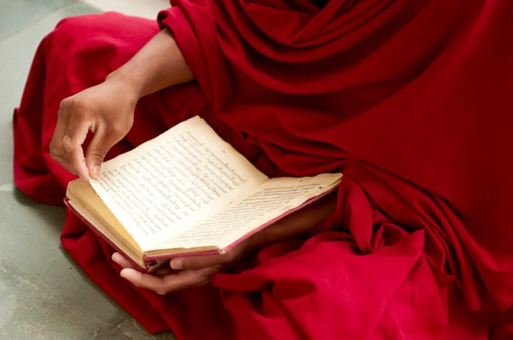 Monk reading a Buddhist text.
