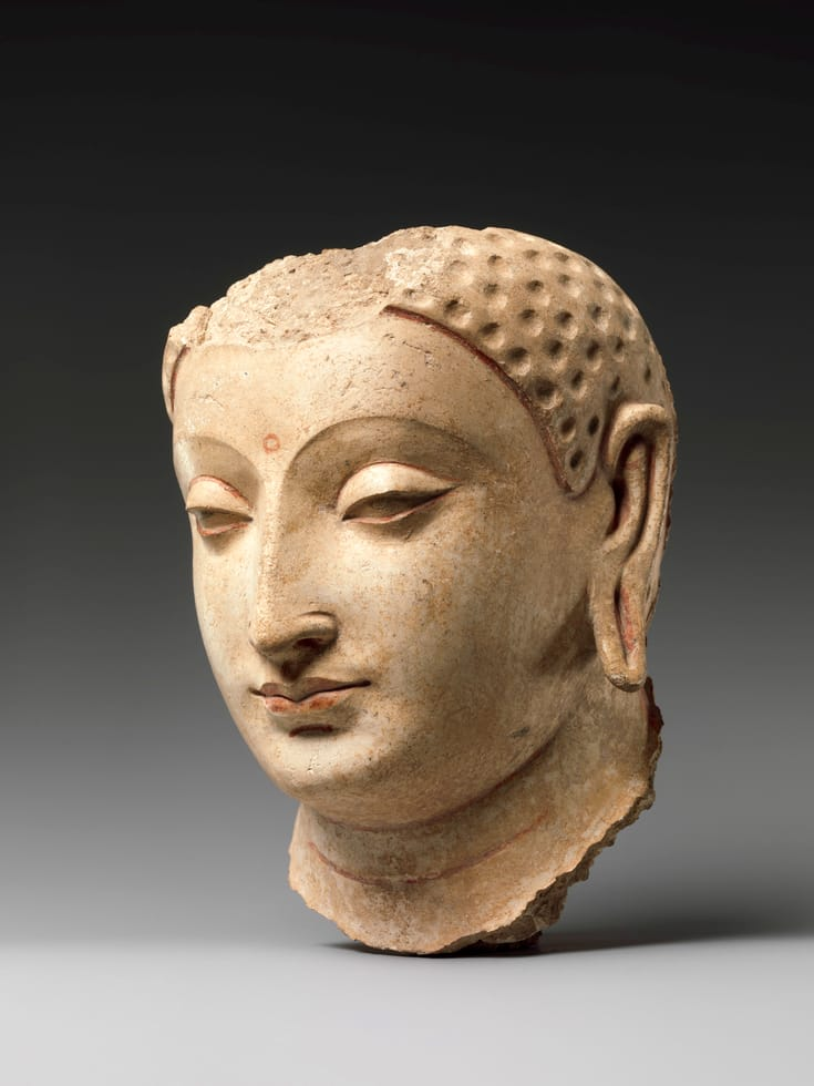 Buddha head sculpture