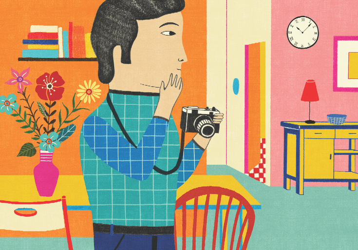 Contemplative photography illustration of a man holding a camera