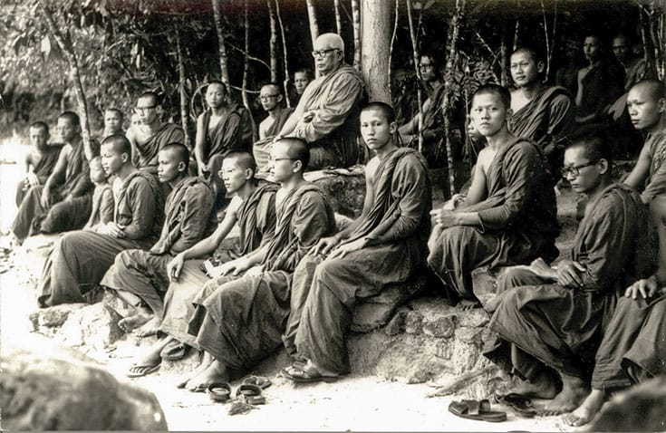 "Ajahn Buddhadasa teaching monks at the ""stone classroom"" at Wat Suan Mokkh, his monastery in southern Thailand. Courtesy of Buddhadasa Indapanno ArchIves."