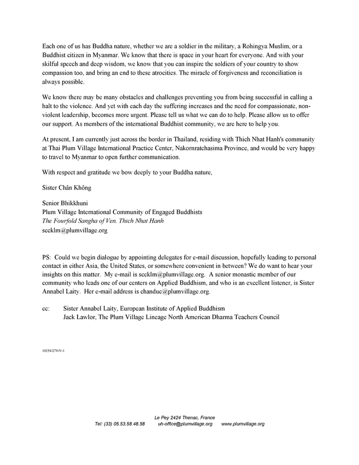 Letter from Sister Chan Khong to Aung San Suu Kyi.