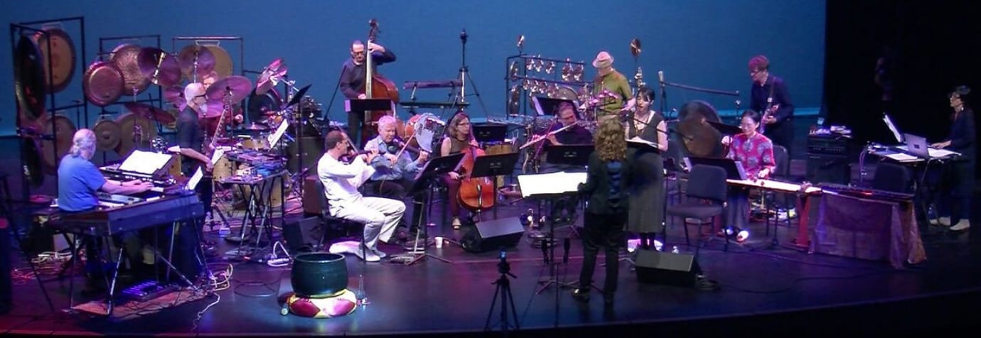 Alex Cline's Flower Garland Orchestra, in concert. Photo (video still) by David Witham.