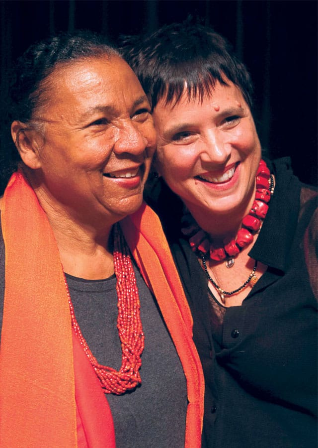 bell hooks (right) and Eve Ensler. Photo by javiersoriano.com.