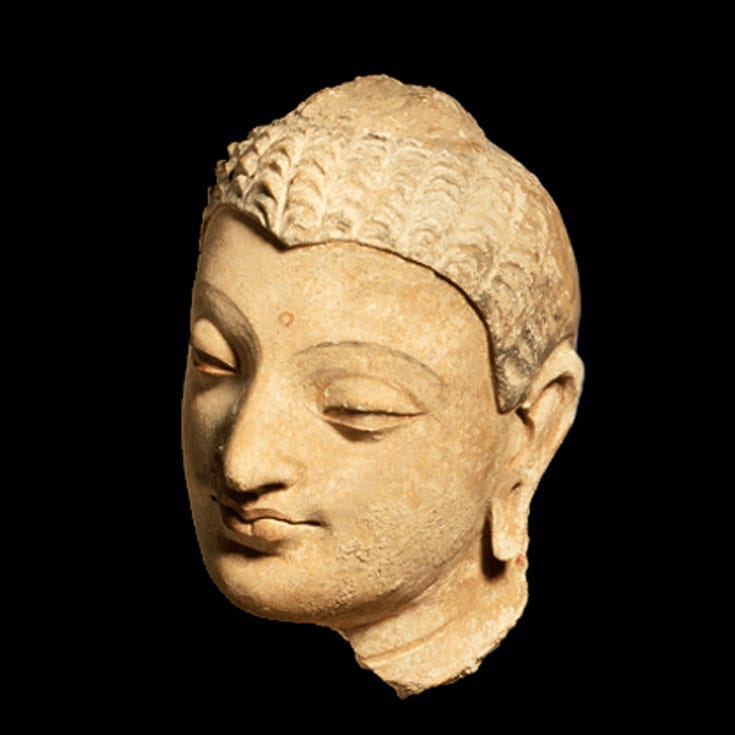 Head of Buddha Shakyamuni. Afghanistan, 4th-5th century. Courtesy of LACMA.