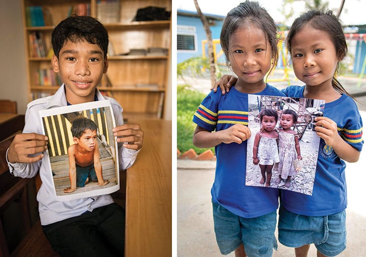 hildren hold photos of themselves from when they lived and scavanged in the garbage dump. Today, through the Cambodian Children's Fund, they have nutritional food and proper housing.