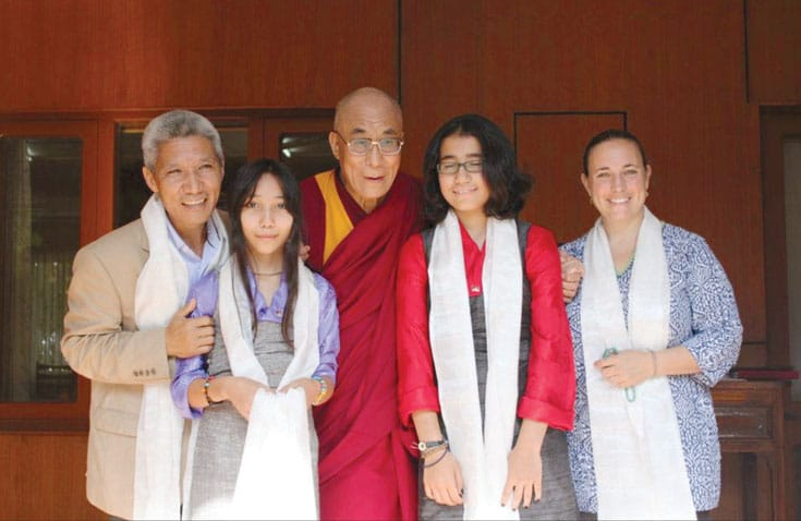 Jinpa, his daughters Tara and Khandro, and his wife, Sophie Boyer Langri, with His Holiness.