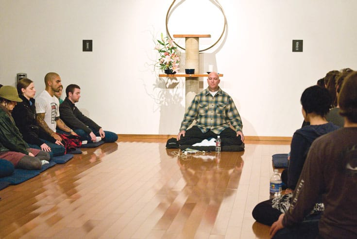 Noah Levine teaching at Against the Stream Buddhist Meditation Center. Photo by Cat Gwynn.