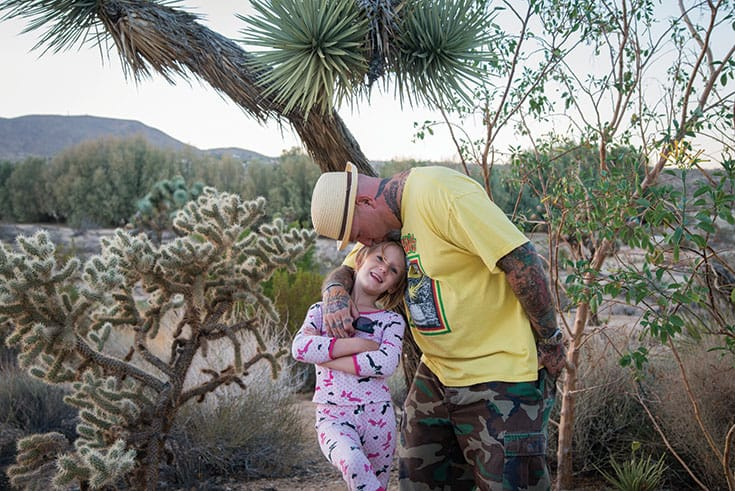 Noah Levine with his daughter, Hazel. Photo by Sarit Z. Rogers.