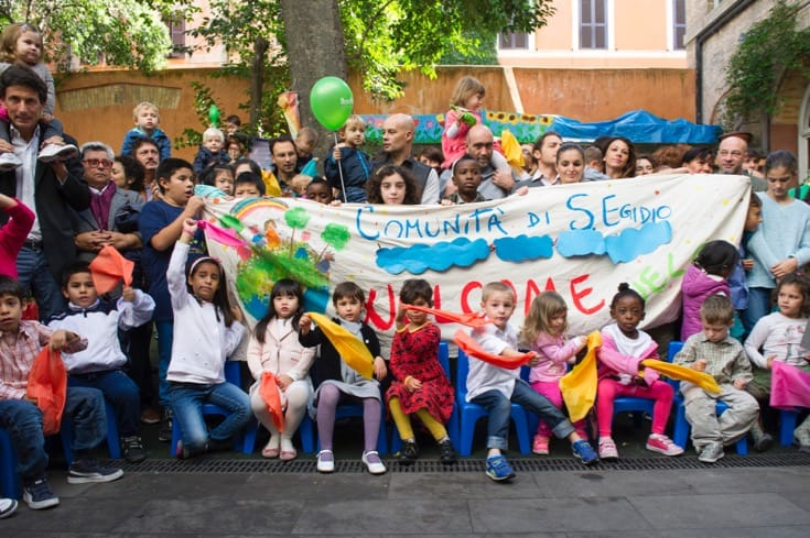 """Refugees at a reception center for refugees in Rome. October, 2015. Photo by <a href=""""Refugees at a reception center for refugees in Rome"""" target=""""_blank"""">Rick Bajornas via the United Nations</a>."""