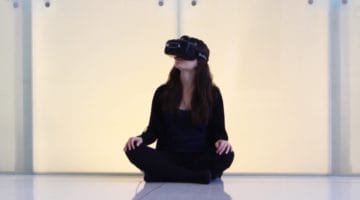 Meditator in virtual reality.