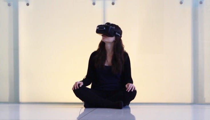 Meditator in virtual reality.