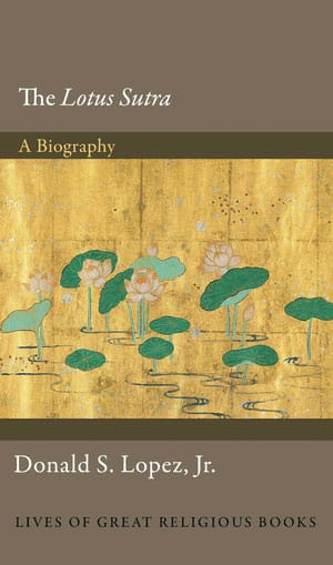 Book cover for The Lotus Sutra. The top and bottom of the book are brown, with a painting in the middle of the page.