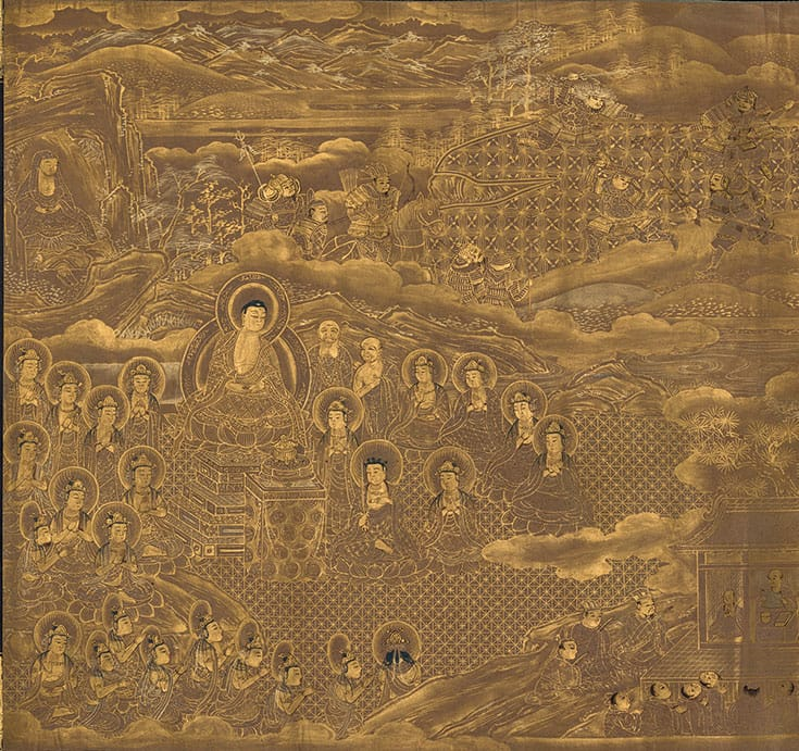 A painting of the Buddha being presented a jewel.