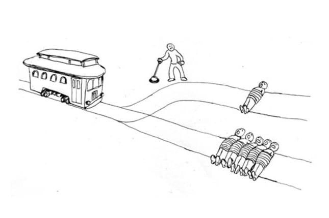 Trolley Problem with a switch.