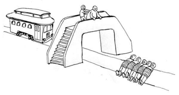 Trolley Problem with a bridge.