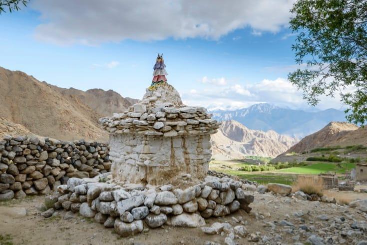 A stone stupa.