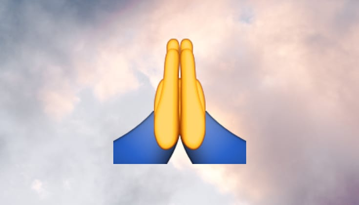Prayer emoji in clouds.