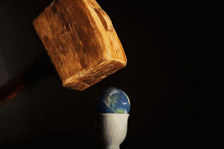 illustration of hammer hitting earth