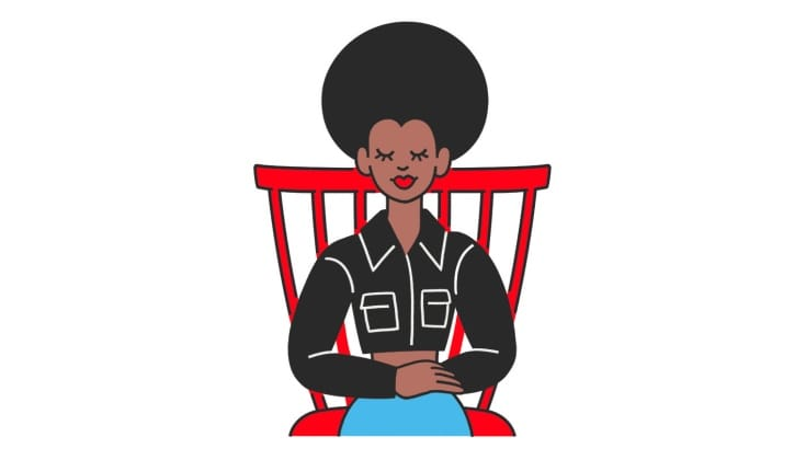 A cartoon of a woman sitting with her hands crossed on her lap.