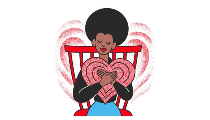 A cartoon of a woman hugging a giant heart.