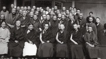 Conference of all Tibetan Buddhist traditions, 1963. In the front row, from left to right are Dudjom Rinpoche, the Sixteenth Karmapa, the Sakya Trizin, the Dalai Lama, Ling Rinpoche, Trijang Rinpoche, and Bakula Rinpoche. © Homai Vyarawalla.