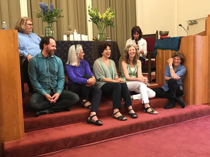 Trudy Goodman and Sharon Salzberg with Cayce Howe, Elizabeth Rice, Maureen Shannon-Chapple and Diana Gould.