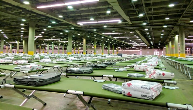 Beds in a Houston shelter.