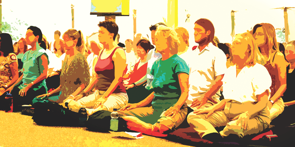 Students in meditation.
