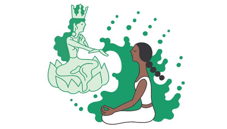 Illustration of woman meditating in front of Green Tara.