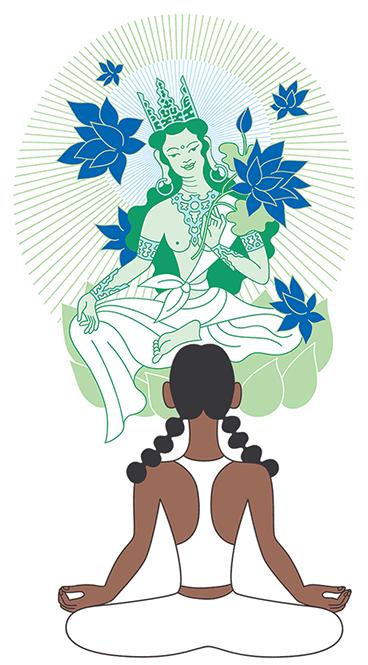 Illustration of woman meditating in front of Tara.