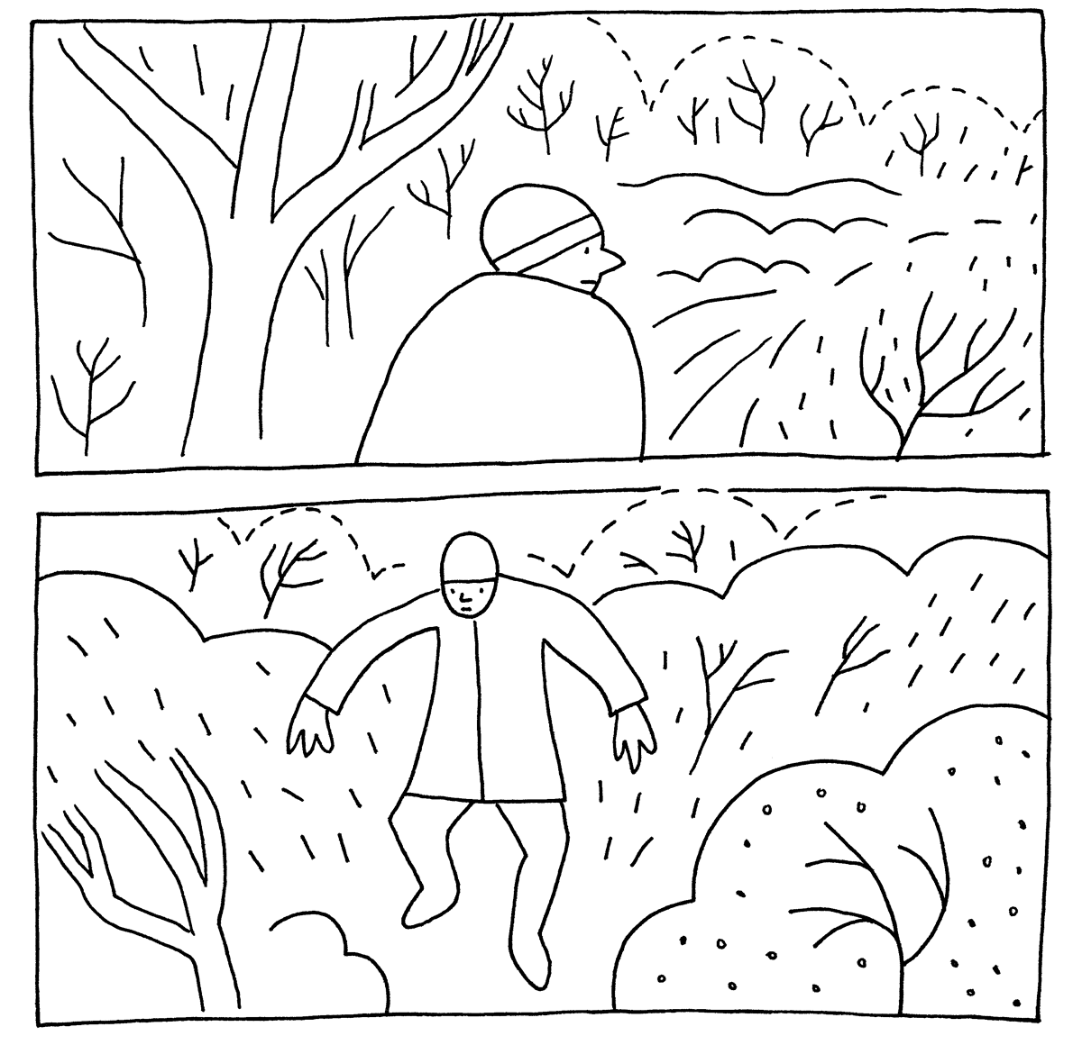 Illustation of a man walking in the snow.