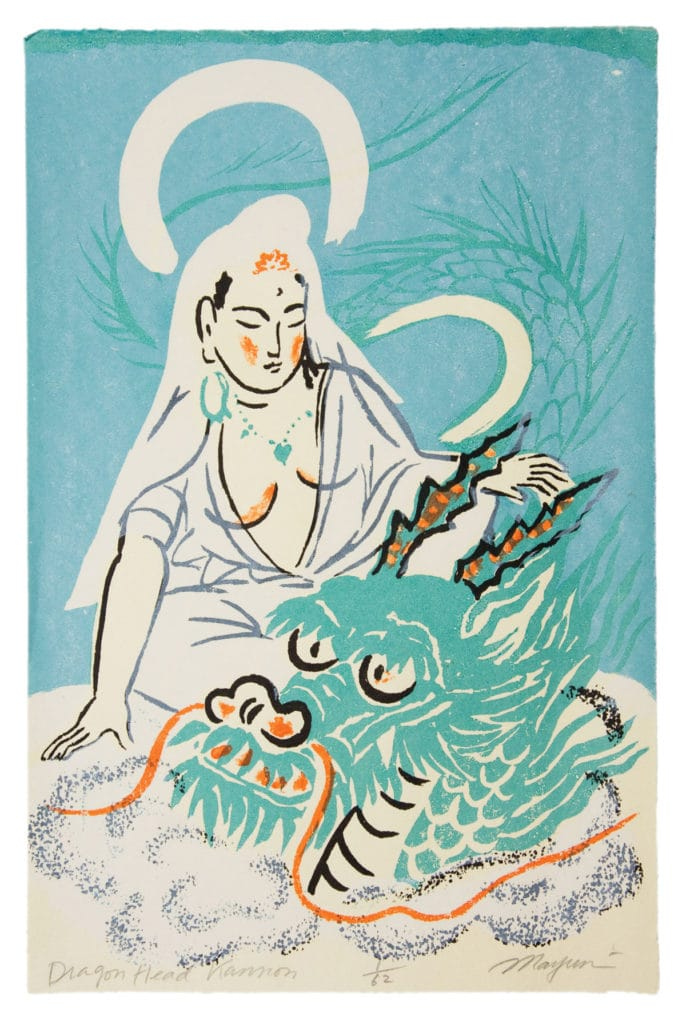 A painting of a female figure sitting next to a dragon head.